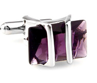 Purple Crystal Cufflinks (V-CF-50938PR-S)