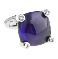 Purple Italian Cabochon with Swarovski® Crystals Cufflinks (V-CF-C7956PR-S)