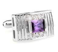 Purple Princess Cut Swarovski® Crystal Cufflinks (V-CF-C64194PR-S)