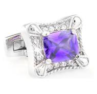 Purple Rectangle Center Crystal Cufflinks (V-CF-C6547-PR)