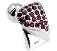 Raspberry-Colored Swarovski® Crystal & Silver Cufflinks (V-CF-C603PR-S)