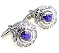 Round Purple & Diamond Swarovski® Crystal Cufflinks (V-CF-C600PR)