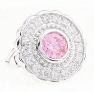 Large Round Pink Crystal Swarovski® Crystal Cufflinks (V-CF-C1400P-S)