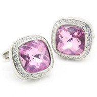 Large Square Lavender-Pink with Clear Crystals Cufflinks (V-CF-C51681-P)