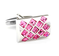 Pink Insert Square Crystals Design Cufflinks (V-CF-C7714P)