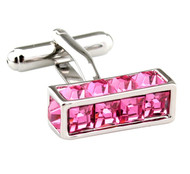 Pink Long Cube with Square Crystals Cufflinks (V-CF-C7708P)