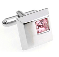 Pink Petite Square Crystal Cufflinks (V-CF-C5753P)