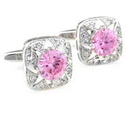 Pink Round Center Swarovski® Crystal Starburst Cufflinks (V-CF-C519-P)