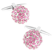 Pink Swarovski® Crystal Encrusted Small Ball Cufflinks (V-CF-C624P)