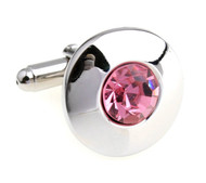 Round Center Pink Crystal Circle Cufflinks (V-CF-C56722-P)