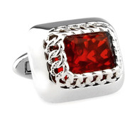 Large Red Swarovski® Crystal Platinum Plated Cufflinks (V-CF-C8176R-S)
