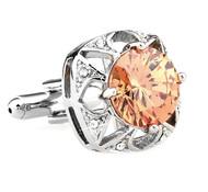 Large Round Peach Crystal Silver Cufflinks (V-CF-C63948O-S)