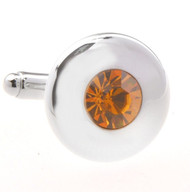 Round Center Orange Crystal Circle Cufflinks (V-CF-C56722-O)