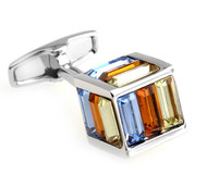 Small Multi-Colored Cubed Baguette Swarovski® Crystal Cufflinks (V-CF-C1000M-S)