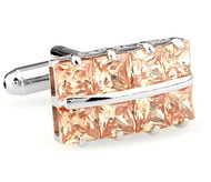 Square Cut Peach Color Crystal Cufflinks (V-CF-C64355CO-S)