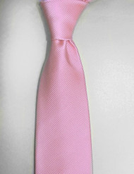 Antonio Ricci Solid Color Tonal Rib Weave Tie - Pink