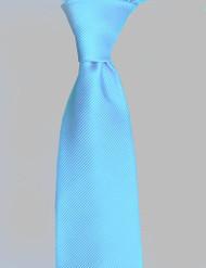 Antonio Ricci Solid Color Tonal Rib Weave Tie - Turquoise