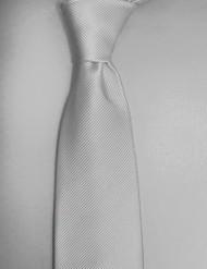 Antonio Ricci Solid Color Tonal Rib Weave Tie - Silver