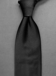 Antonio Ricci Solid Color Tonal Rib Weave Tie - Black
