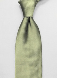 Antonio Ricci Solid Color Tonal Rib Weave Tie - Light Olive