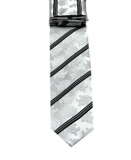 Antonio Ricci Necktie w/ Matching Pocket Square - Silver Paisleys with Black Stripes
