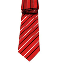 Antonio Ricci Necktie w/ Matching Pocket Square - Red with Stripes