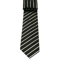 Antonio Ricci Necktie w/ Matching Pocket Square - Black with Stripes