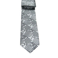 Antonio Ricci Necktie w/ Matching Pocket Square - Silver with Black Design