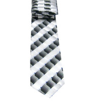 Antonio Ricci Necktie w/ Matching Pocket Square - Abstract Design in White & Black