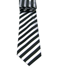 Antonio Ricci Necktie w/ Matching Pocket Square - Silver Stripes on Black