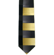 Antonio Ricci 100% Printed Silk Tie - Gold & Black Offset Line Design