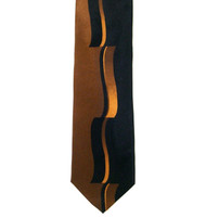 Antonio Ricci 100% Printed Silk Tie - Copper & Black Contrasting Curve Pattern