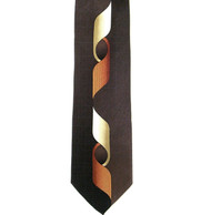 Antonio Ricci 100% Printed Silk Tie - Long Curl Design on Brown