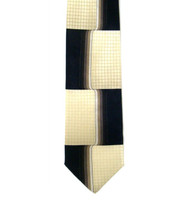 Antonio Ricci 100% Printed Silk Tie - Ivory & Black Geometric Grid Design