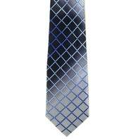 Antonio Ricci 100% Printed Silk Tie - Blue Diamond Cross-Hatch Design