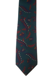 Papillon 100% Printed Silk Tie - Feather Design on Teal