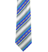 Antonio Ricci 100% Printed Silk Tie - Royal Ornate Stripe on Grey