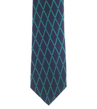 Antonio Ricci 100% Printed Silk Tie - Sea Blue Diamond on Dark Blue