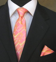Antonio Ricci Necktie w/ Matching Pocket Square - Peach Abstract Design