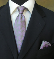 Antonio Ricci Necktie w/ Matching Pocket Square - Purple Paisleys on Grey