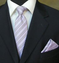 Antonio Ricci Necktie w/ Matching Pocket Square - Dotted Purple Stripes