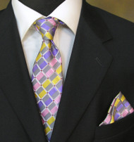 Antonio Ricci Necktie w/ Matching Pocket Square - Pastel Blocks on Silver