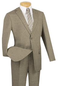 Lucci 2-Button Taupe Melange Weave with Flat Front Slacks Suit