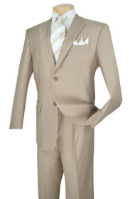 Lucci 2-Button with Flat Front Slacks Budget Suit - Beige