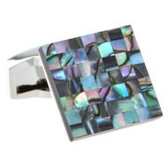 Abalone Shell Mosaic Square Cufflinks (V-CF-S52960)