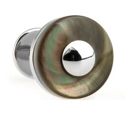 Double Button Knob Dark Abalone Shell Cufflinks (V-CF-S50554)
