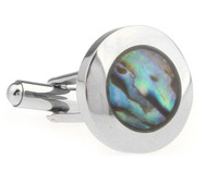 Genuine Abalone Shell Stainless Steel Cufflinks (V-CF-G230102SS)