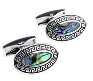Oval Abalone Shell with Greek Key Design Cufflinks (V-CF-S506S)