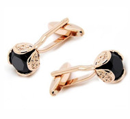 Black Faceted Crystal Rose Gold Cufflinks (V-CF-C52194B-RG)