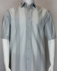 Bassiri Light Grey Large Stripe Short Sleeve Camp Shirt